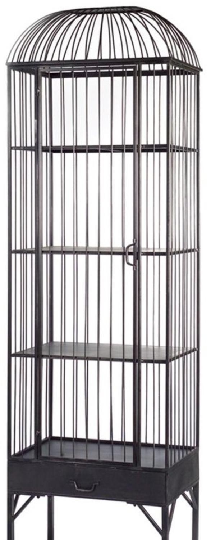 "Black Metal 4 Shelf Birdcage Cabinet with 2 Drawers 80""H Display Case by Melrose (Image #1)"