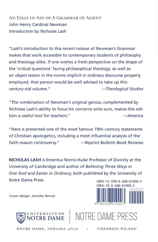 An Essay in Aid of a Grammar of Assent: John Henry Newman, Nicholas ...