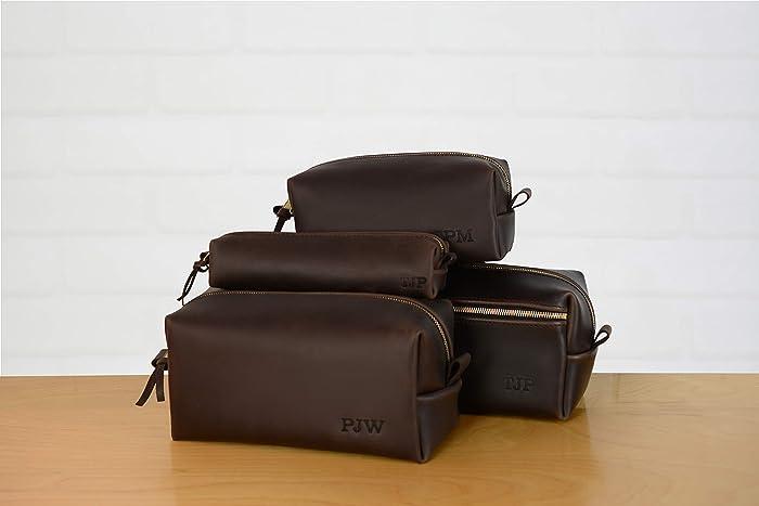 d1aa5fa6a5 Amazon.com  Personalized Leather Dopp Kit Groomsmen Gift Bridesmaid ...
