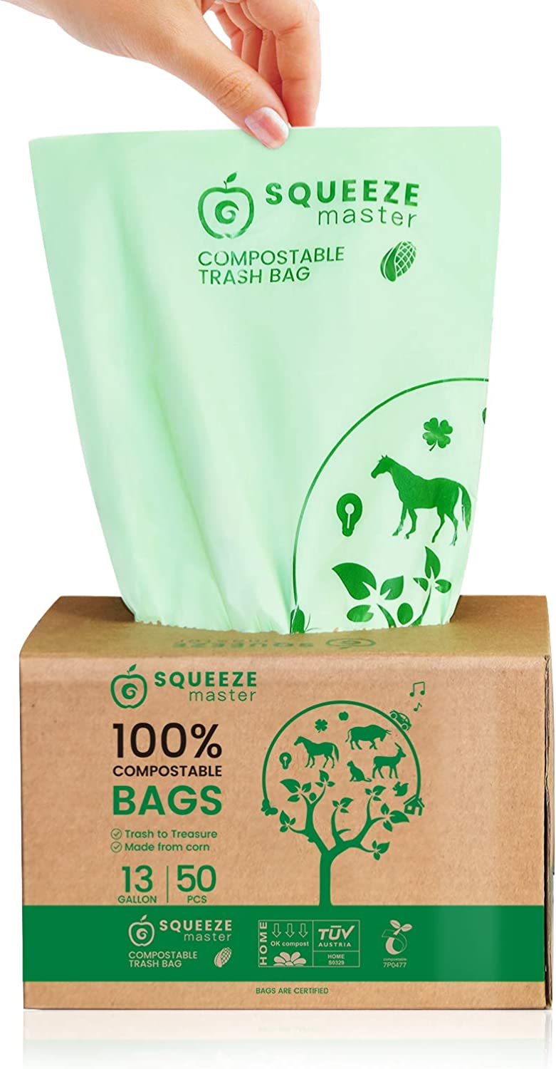 Compostable Trash Bags 100% , 13 Gallon/49.2 Liter-50 Counts, Heavy Duty for Tall Kitchen Trash Bags, Food Waste Bags,Garden Waster Bags,Extra Thick & Stretchable,Green