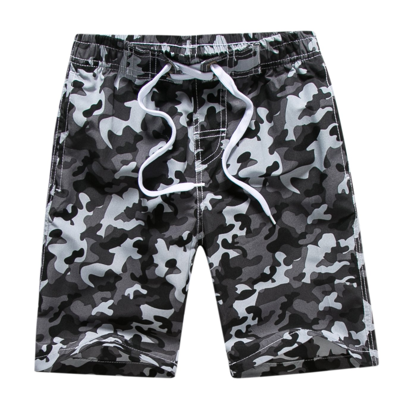 Echinodon Boys Swim Shorts Fast Dry Boardshorts Adjustable Waist Beach Shorts with Side Pockets for Swimming Surfing