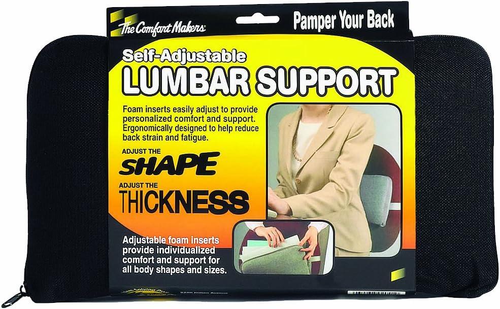 "The ComfortMakers Lumbar Support, Adjustable, 12-1/2""w x 7-1/2""h x 2-1/2""d, Black, 1/Each (92011)"