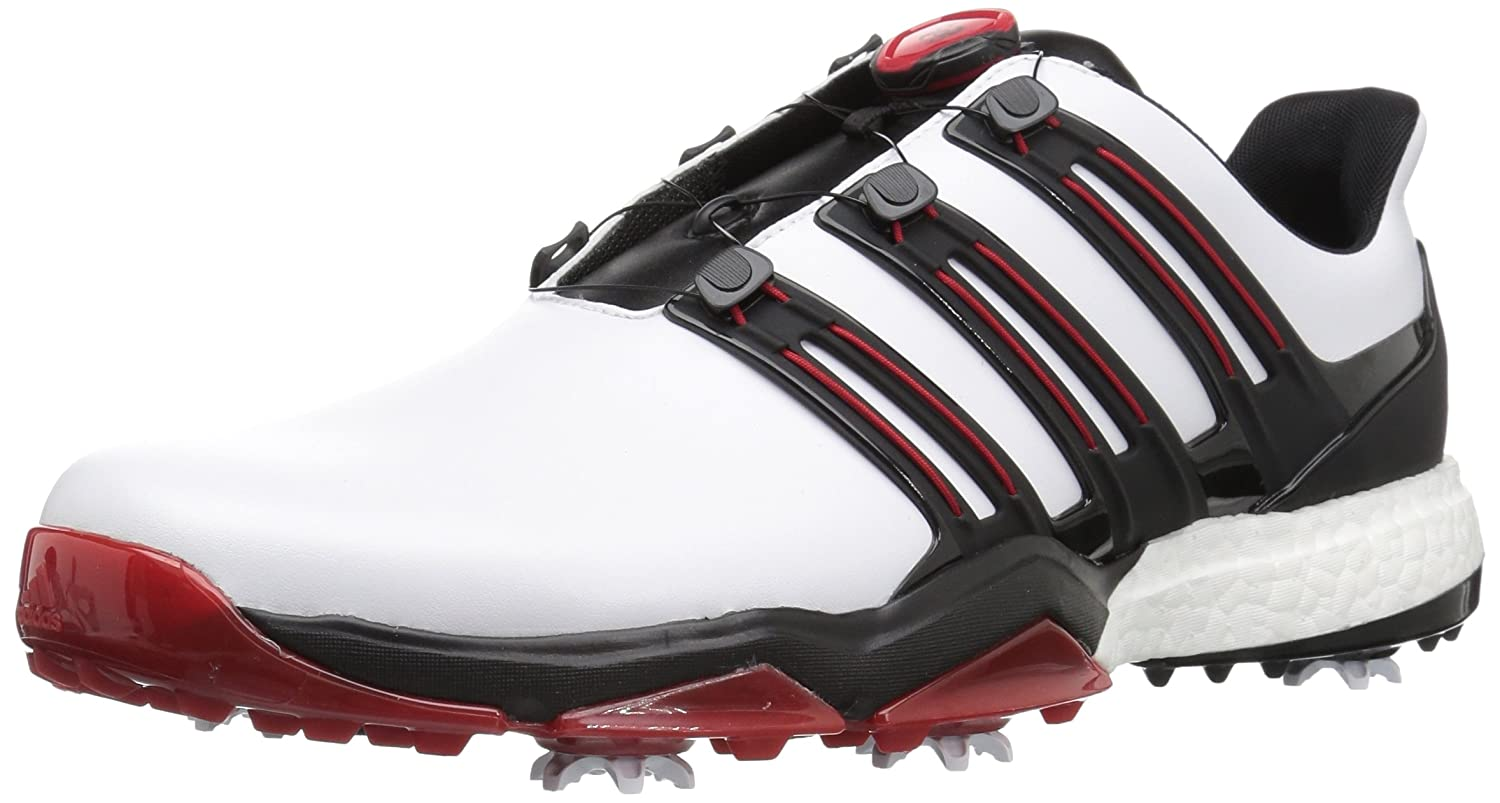 adidas Powerband BOA Boost Golf Shoes B01KLLVKRO 12 D(M) US|White/Core Black/Scarlet