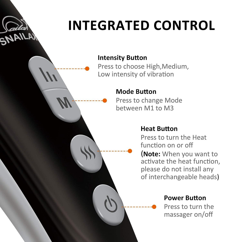 snailax cordless massager controll button function