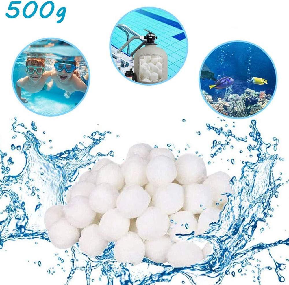 HUOHUOHUO - Bolas de filtro para piscina, 500 g, para sistemas de filtrado de arena, filtro de cartuchos, alta permeabilidad al agua, más ligeras, más eficientes, filtrado