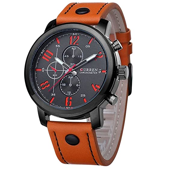 ShoppeWatch Mens Wrist Watch Big Face Orange Leather Band Easy Read Reloj Hombre Curren CR8192ORBK