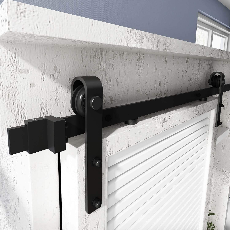 5FT Track Double Door Kit Easy Install Apply for Storage Window TV Closet EaseLife 5 FT Super Mini Double Door Cabinet Sliding Barn Door Hardware Track Kit Ultra Sturdy Slide Smooth Quiet