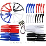 Coolplay Syma X5SC X5SW Main Blade & Propeller Protectors Blades Frame & Landing Skid & Motors Included Mounting Screws Spare Part for RC Mini Quadcopter Toy - Upgraded 4 Colors