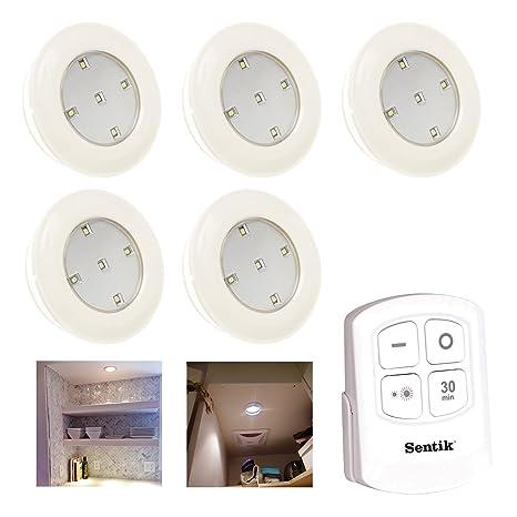 Sentik® Pack de 5 luces inalámbricas con 5 SMD LED y batería, luz nocturna