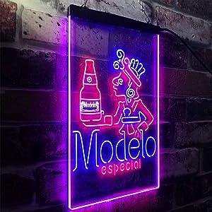 zusme Modelo Especial Adjunct Lager Man Cave Novelty LED Neon Sign Red + Blue W12 x H16