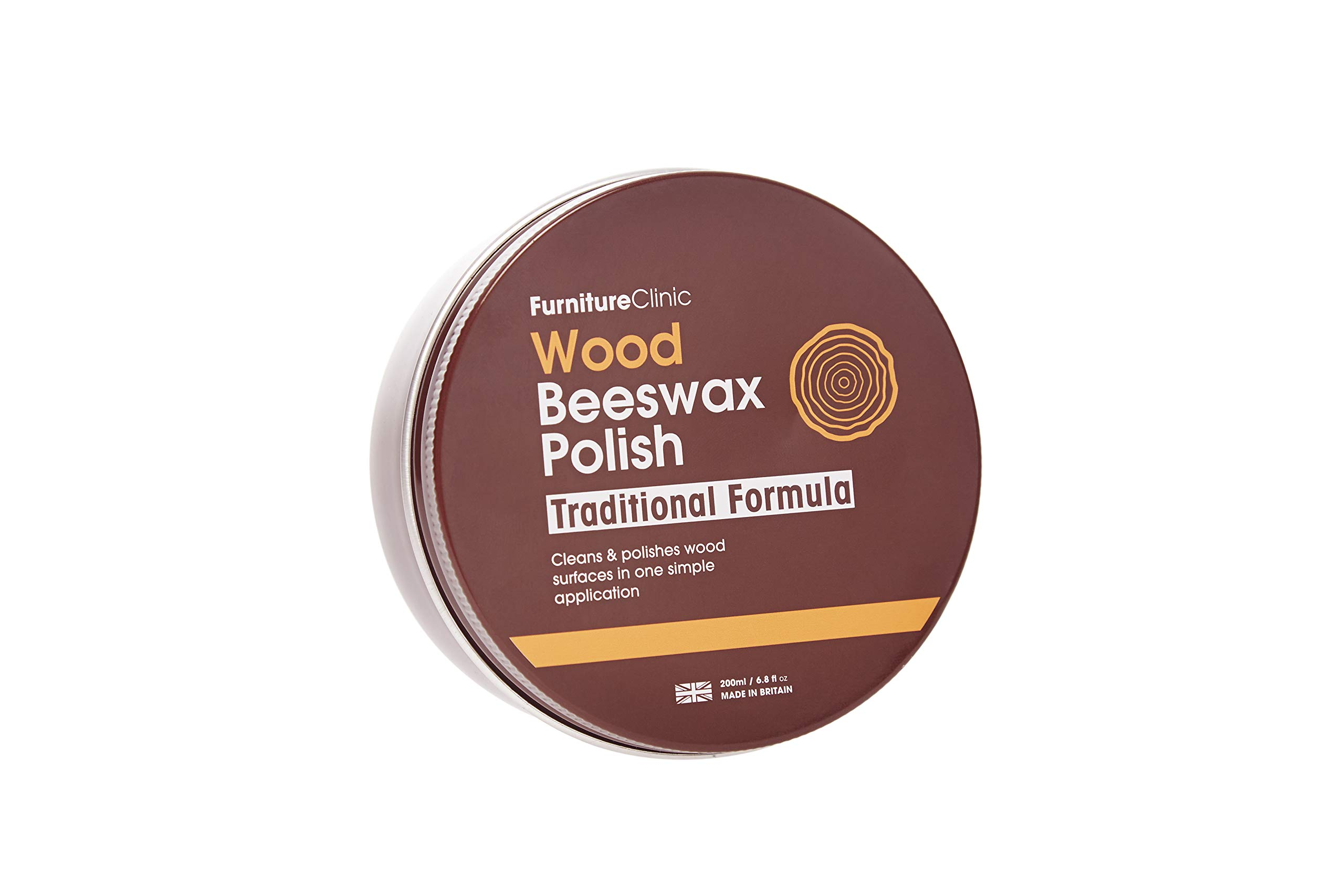 Furniture Clinic Traditional Beeswax Polish for Wood & Furniture   200ml of Wax for All Wood Types & Colors - Oak, Teak, Dark and Light Wood - Protect and Enhance The Shine - 6.8 Fl Oz