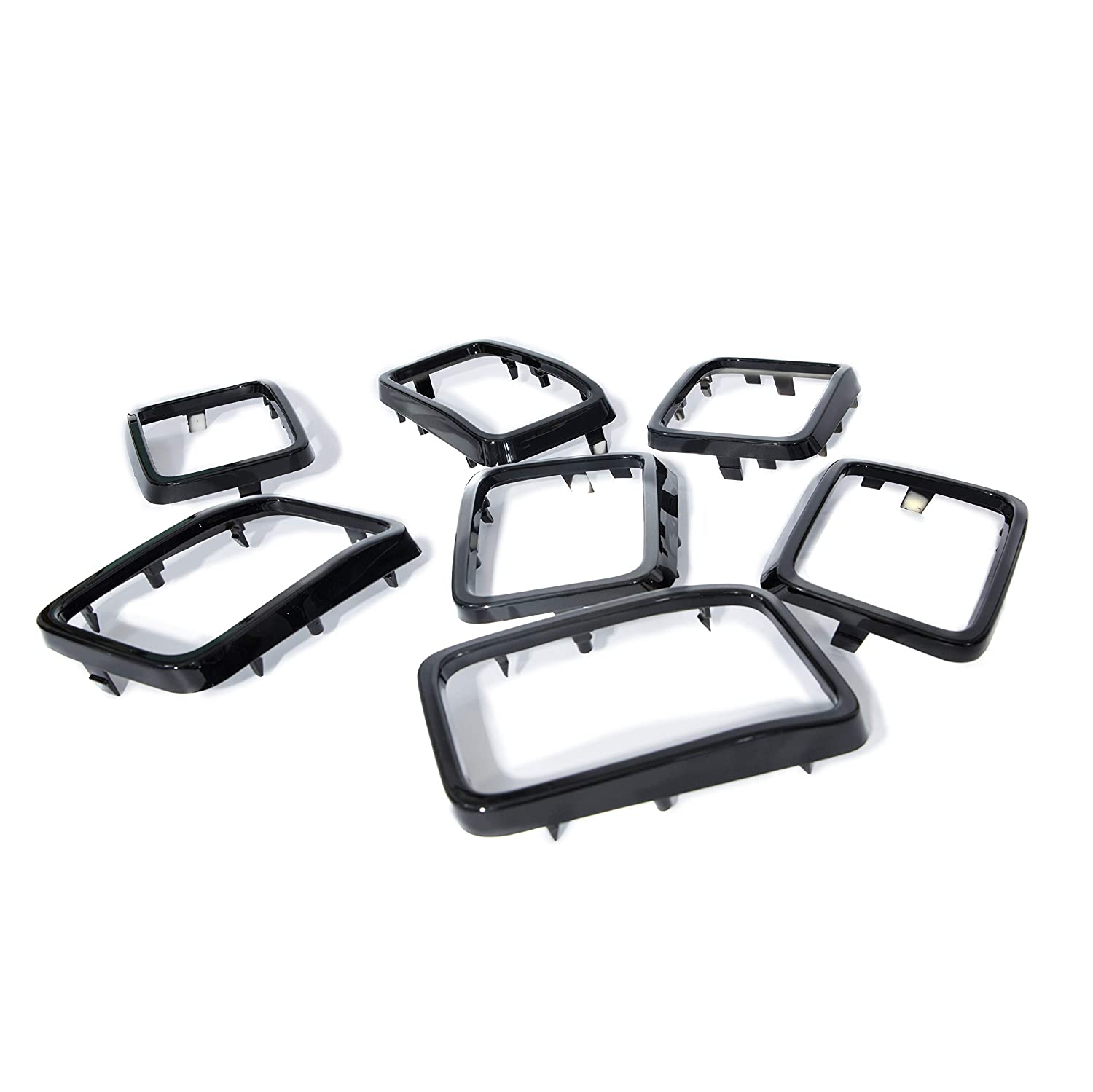 YAV Latest Gloss Black Front Grill Grille Inserts Trim Rings Cover for 2017 2018 2019 Jeep Grand Cherokee 7PCS