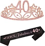 40th Birthday Gifts for Women, 40th Tiara and Sash Pink, Happy 40th Birthday Party Supplies, Fierce, Fabulous & 40 Satin…