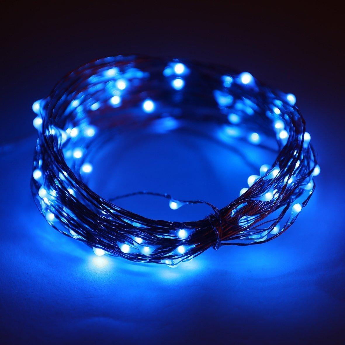 Lyhoon 16.4FT (5m) 50er LED Lichterkette Batterienbetrieben Blau ...