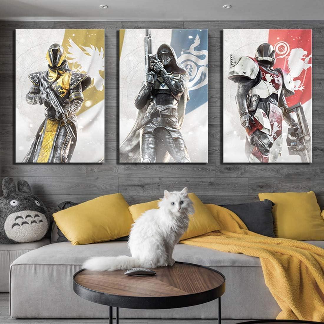 HSART Art Canvas Paintings 3 Piece Destiny 2 Guardians HD Print Game Poster Wall Art for Home Decor,B,40x60cmx3