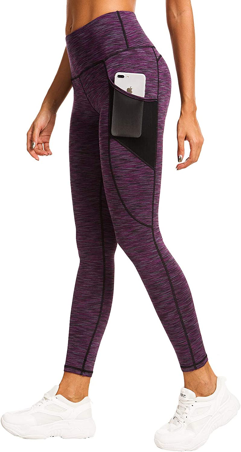 QUEENIEKE Women Yoga Leggings Mesh Pocket Mid-Waist Gym Running Tights 60127