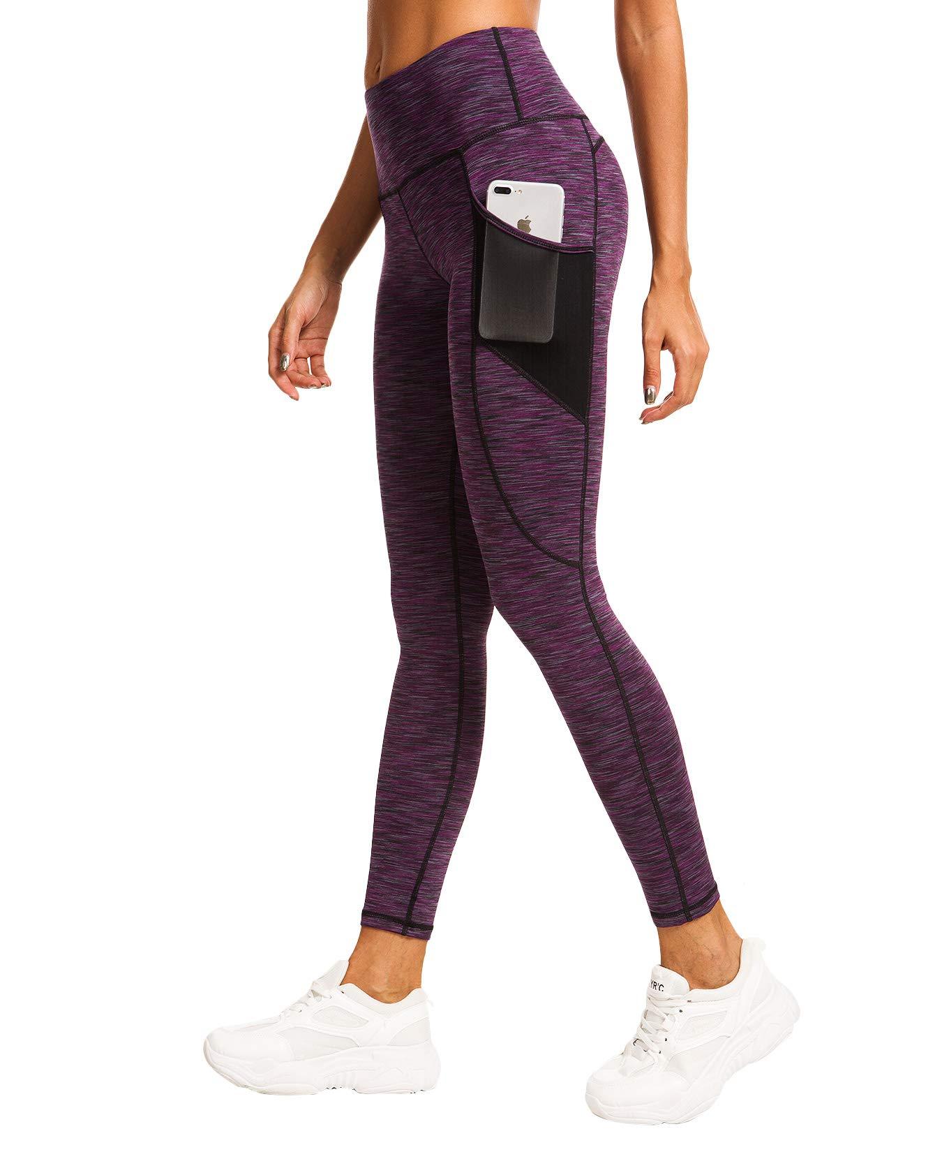 QUEENIEKE Women Peach Hip Yoga Leggings Power Flex Mesh Mid-Waist Gym Running Tights Size 4/6 Color 2019-Purple Space Dye