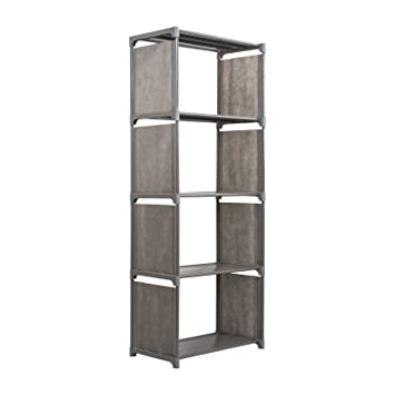 5 Tier Bookshelf Holder Adjustable Bookcase Storage Display Shelf Stand Rack Garment Cabinet OrganizerGrey