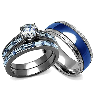Delicieux His And Hers Wedding Rings Set   Womenu0027s 3.24 Carats Wedding Engagement  Rings And Menu0027s Matching