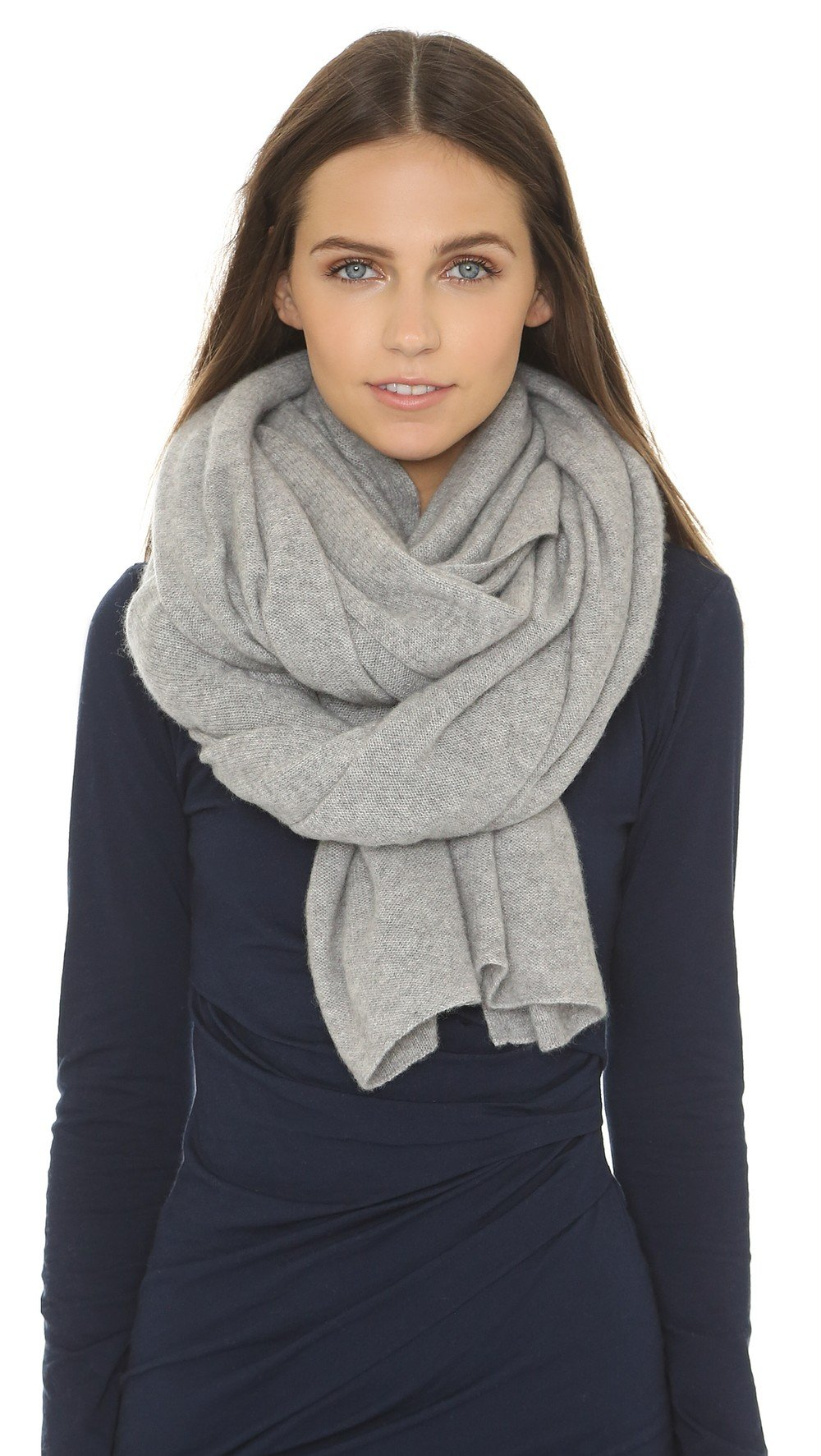 White + Warren Women's Cashmere Travel Wrap Scarf, Grey Heather, One Size by White + Warren