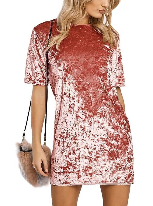 HIKARE Womens Vintage Short Sleeve Casual Mini T Shirt Velvet Dress Pink  Size L b2d64f0eb
