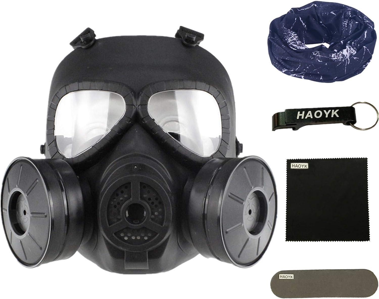 haoYK Máscara antigas simulada de, máscara de cara M04 con ventilador doble, para protección de paintball, airsoft