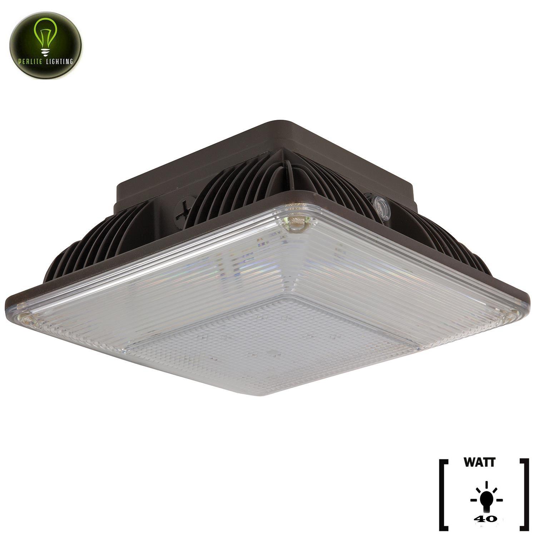 Perlite Lighting 40-Watt 4200 Lumens 5000K LED Bronze Dimmable Multi-Volt Outdoor Ceiling Mount Canopy Light Super White LED Fixture
