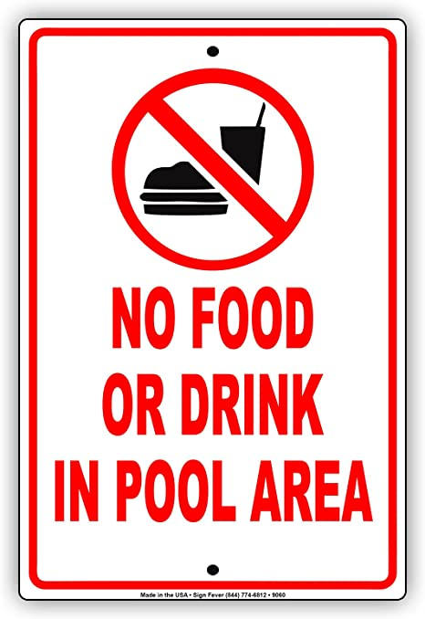 Amazon.com: No Alimentos o bebidas en zona de piscina ...