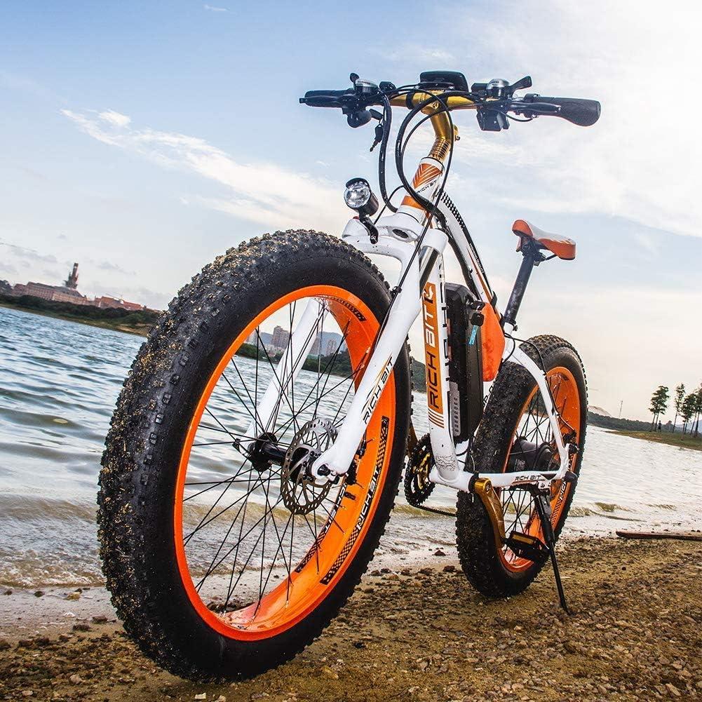 RICH BIT RT022 1000W 48V 17Ah Bicicleta Ciclo Cruiser EBike Bicicleta eléctrica * Batería de alta capacidad 7 velocidades Suspensión Horquilla mecánica doble Bicicleta eléctrica de 26 pulgadas: Amazon.es: Deportes y aire libre