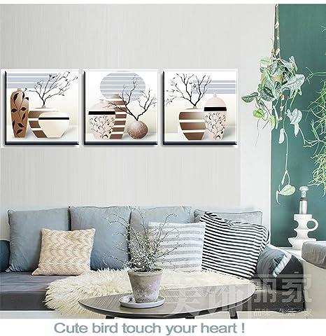 PIY 3X Cuadro Sobre Lienzo Imagen de Ramas secas Elegantes en Botellas de jarrón Canvas Wall Art de la Lona Arte de La Pared para Colgar Cuadros Sobre el ...
