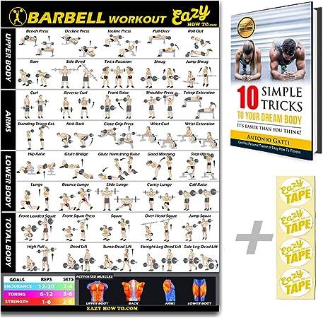Eazy How To Barra de levantamiento de pesas para ejercicios de pesas y entrenamiento, póster grande de 51 x 73 cm, para entrenamiento de resistencia, ...