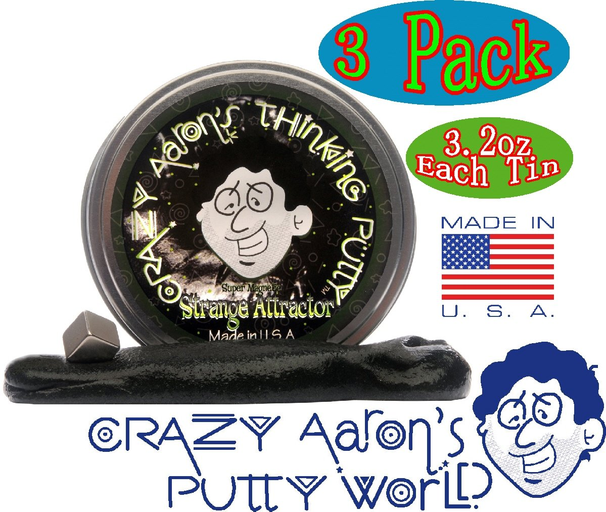 Crazy Aaron's Thinking Putty Strange Attractor, Liquid Glass & Krypton Bundle Gift Set - 3 Pack by Crazy Aaron's (Image #3)