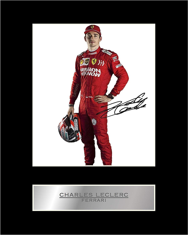 Foto firmada de Charles Leclerc Ferrari #4 con autógrafo