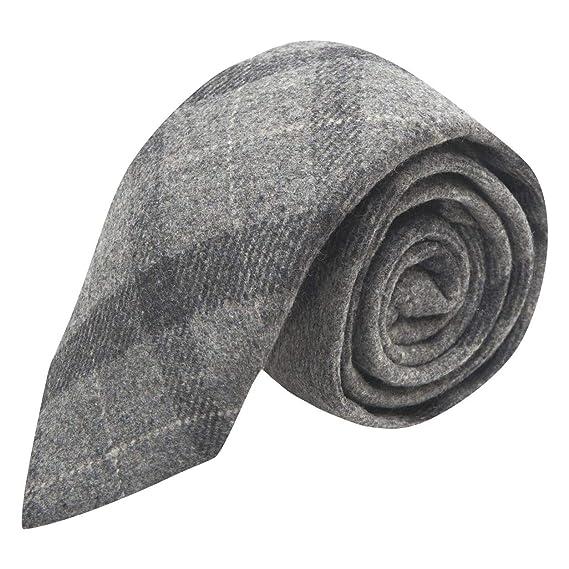 King & Priory Corbata de cuadros gris claro y gris oscuro, tweed ...