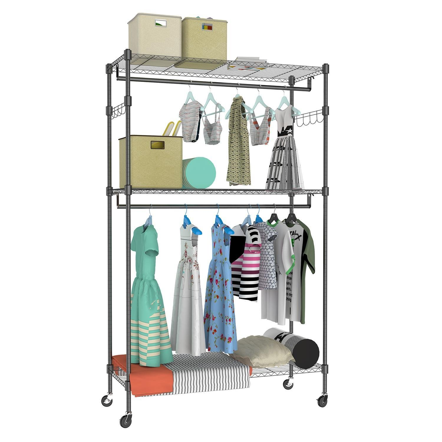 Rapesee Metal Rolling Clothes Garment Rack Portable Heavy Duty Large Wire Shelving Clothes Storage Shelf Garment Hanging Rack (Black 2 sets hanger rod 3 layers)