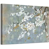 Vintage Floral Canvas Wall Art: White Plum Blossom Flowers Painting Print with Gold Foil on Canvas for Living Room (36…