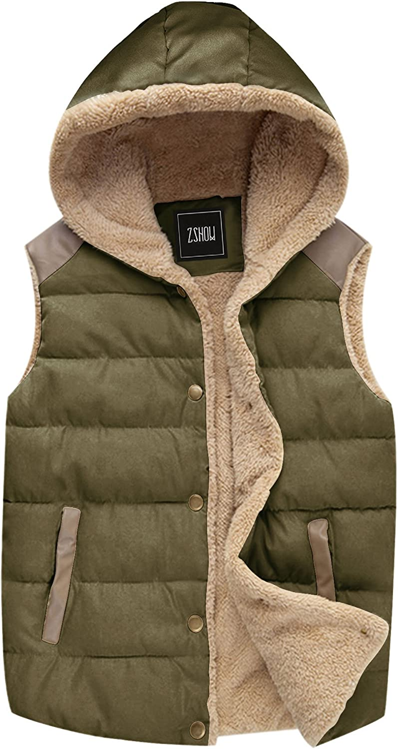 ZSHOW Women's Outwear Casual Thicken Qulited Hooded Vest Padded Fleece Jacket