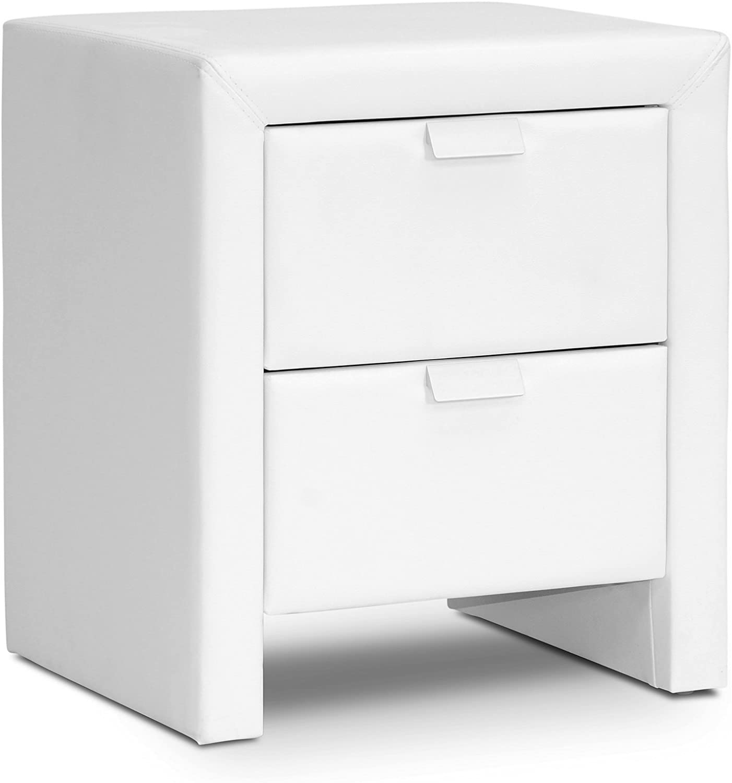 Baxton Studio Frey Upholstered Modern Nightstand, White