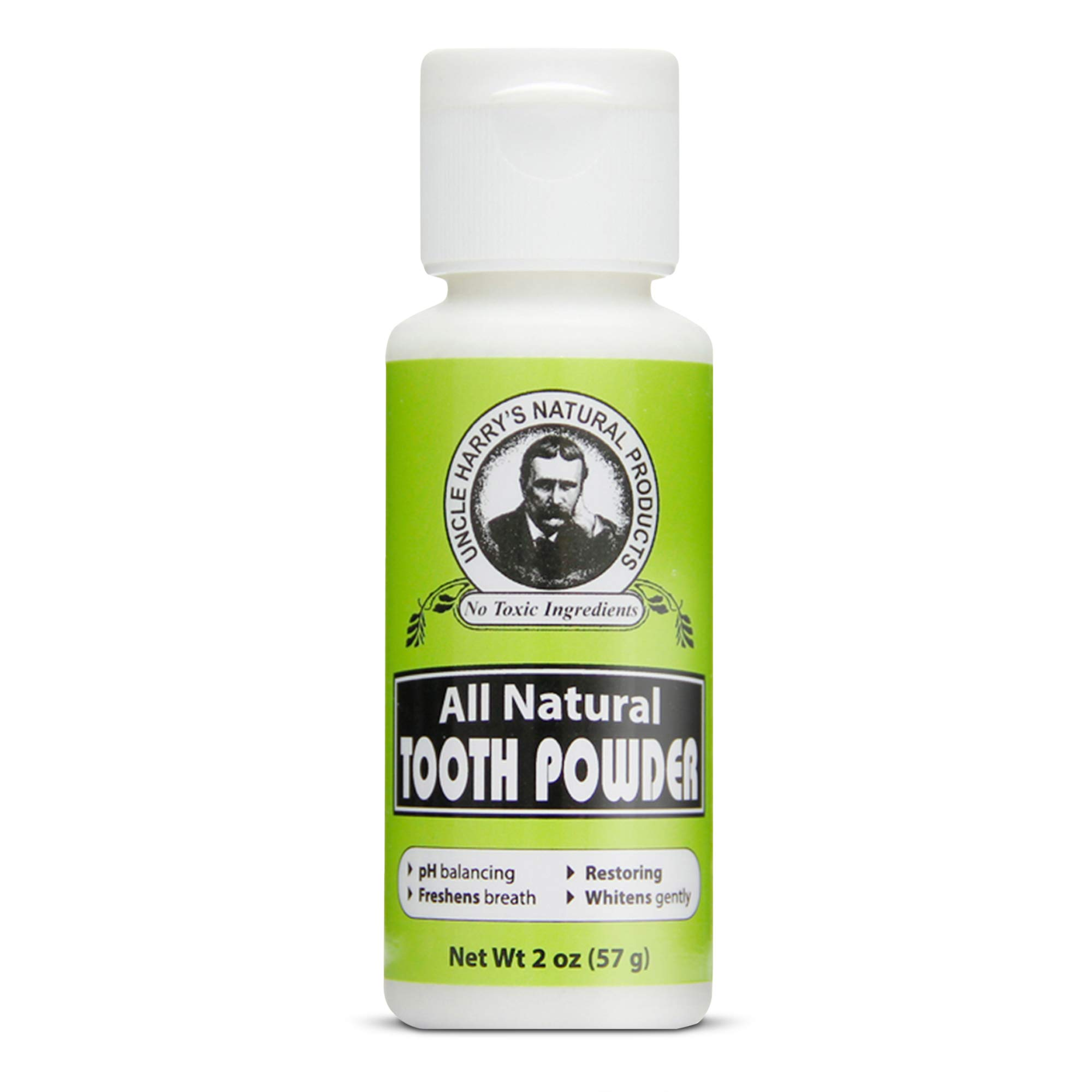 Uncle Harry's Remineralizing Tooth Powder | All Natural Enamel Support & Whitening Toothpaste for Sensitive Teeth | Organic Powder Toothpaste for Gum Health & Fresh Breath (2 oz)