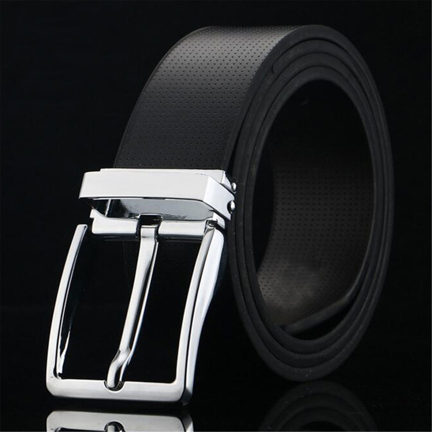 d8b69e7ded7e Fashion?100% Cowhide Genuine Leather Belts for Men Brand Strap Male Pin  Buckle Business Mens Belts Black/white Colors black 125cm at Amazon Women's  Clothing ...