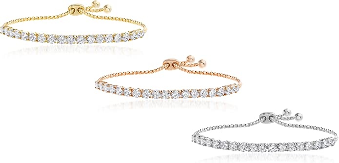 Miss Rabbit Cubic Zirconia Adjustable Bracelet with Prong Setting Crystal CZ Stones and Rhodium Gold Rose Gold Plating For Gift And Every Day Wear