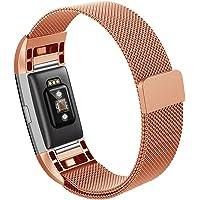 Hanlesi Fitbit Charge 2 Correa, Brazalete de Acero Inoxidable Fitness Accessory Pulsera Banda para Fitbit Charge 2