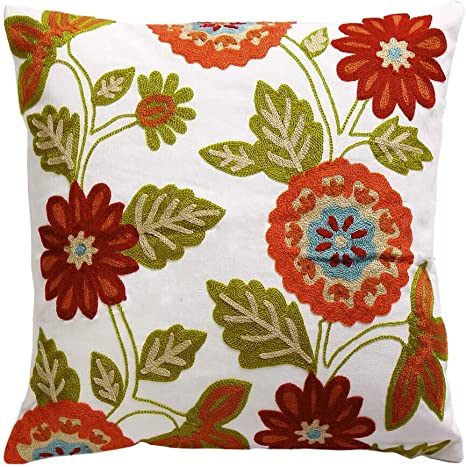 """18x18/"""" Cotton Embroidery Flower Pillow Case Home Sofa Chair Seat Cushion Cover"""