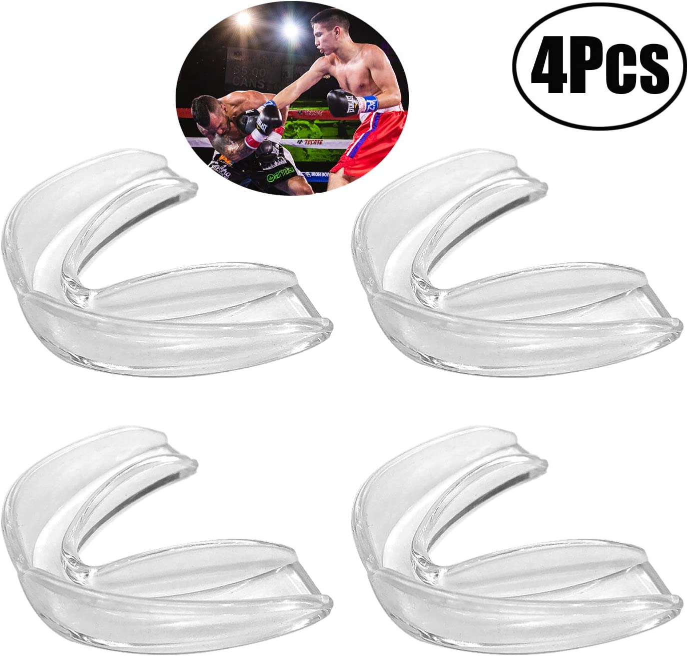 7cm LuLyL 4 Pack Athletic Mouth Guards Gum Shield for Sports Teeth Guard Youth Mouthguard with Plastic Box for Kids//Adults Rugby Boxing Hockey MMA Karate Martial Arts 7