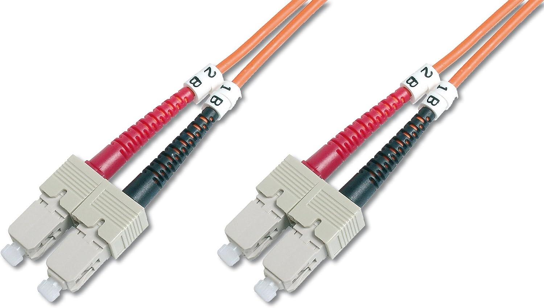 Duplex Multimode 50//125/µ 10 GBit//s LSZH Orange DIGITUS LWL Patch-Kabel OM1-2 m ST auf ST Glasfaser-Kabel