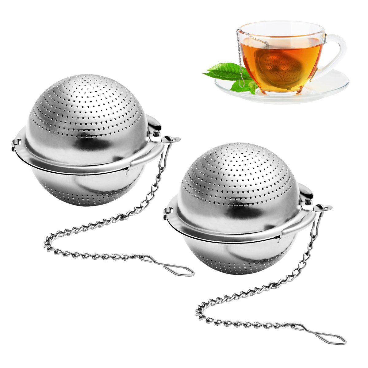 BESTONZON 2 Pack Tea Strainer 2Inch Tea Ball Infuser Ultra Fine 304 Stainless Steel Tea Filter for Loose Leaf Tea and Mulling Spices