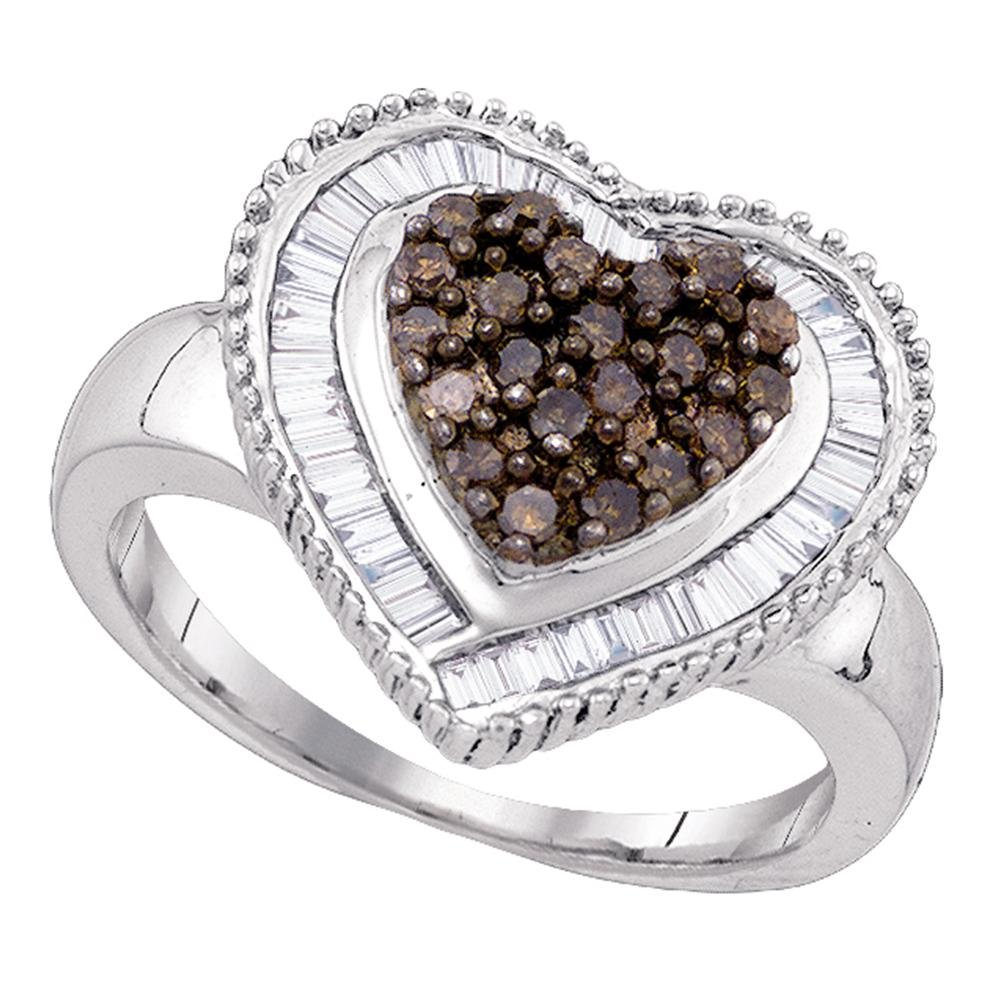Sterling Silver Brown Diamond Heart Ring Love Band Chocolate Promise Style Cocktail Design Fancy 3/4 ctw Size 9