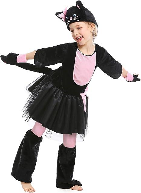 LOLANTA Disfraz de gatita para niña Vestido de Gato Negro para ...
