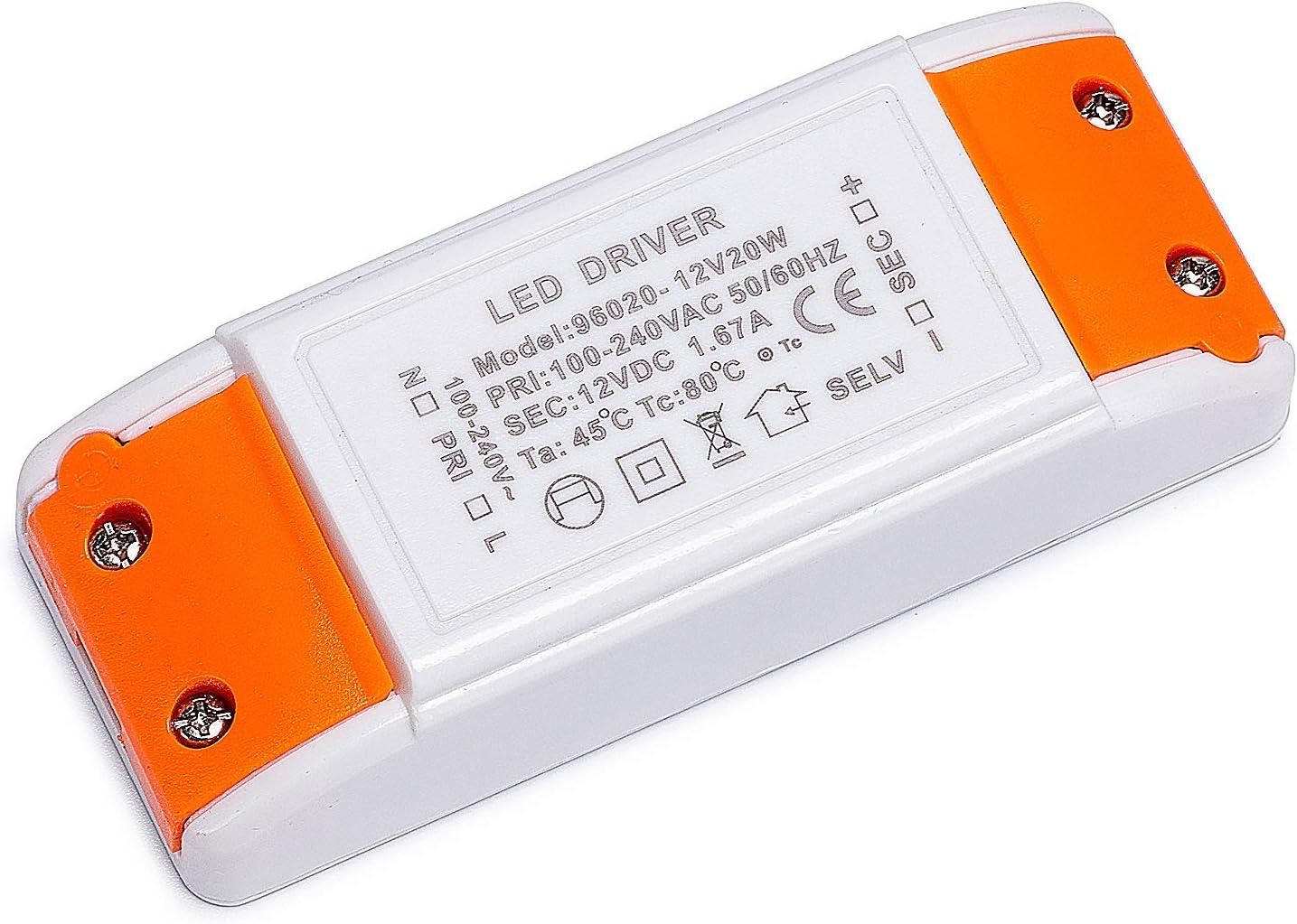 Yafido LED Transformador 220V (AC) a 12V (DC) Trafo 20W 1,67A LED Driver Fuente de Alimentación para Bajo Voltaje Bombillas G4 MR16 GU5.3 MR11 Tira LED