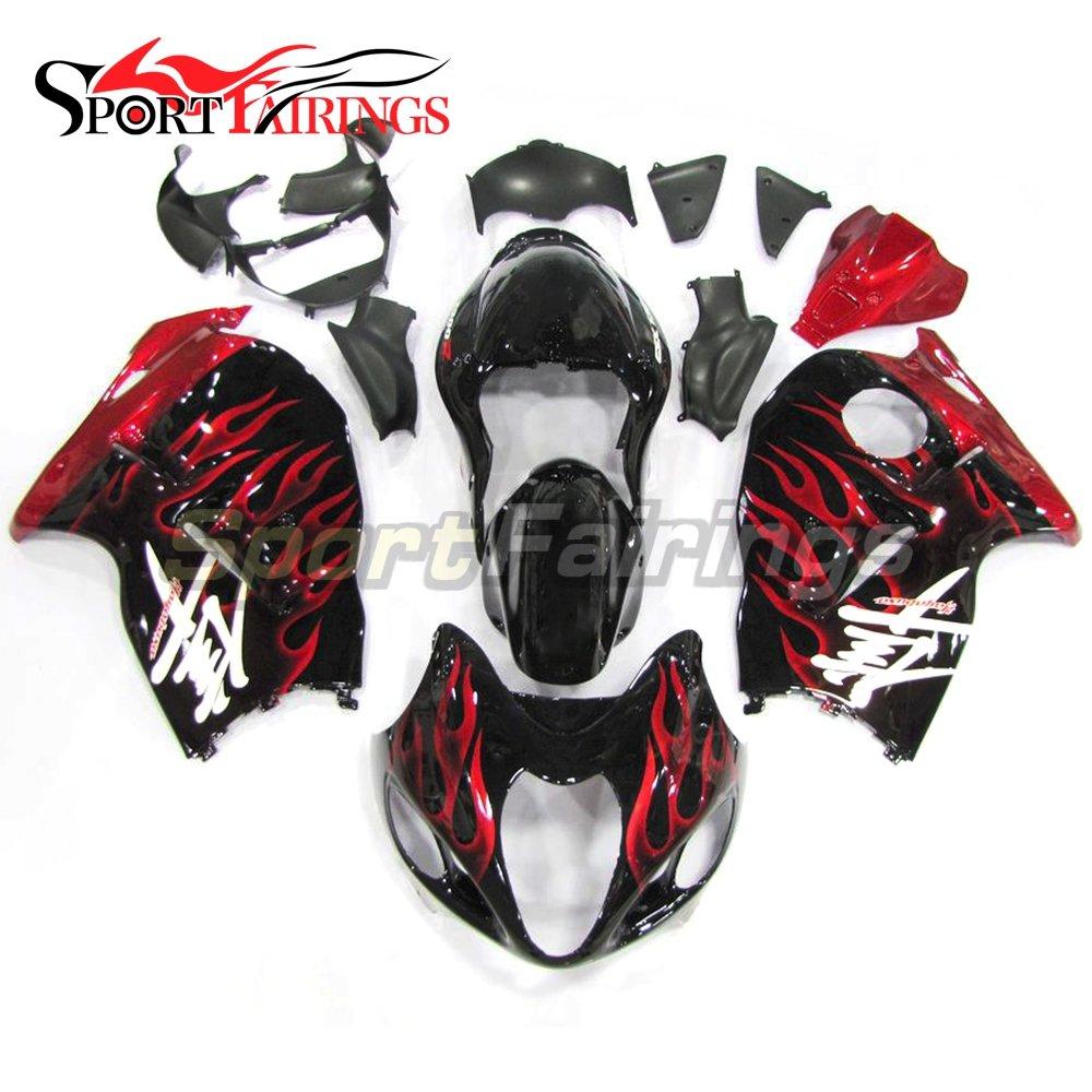 Sportfairings オートバイ 外装パーツセット 適合 Suzuki GSX-R1300 GSXR 1300 隼 1997 1998 1999 2000 2001 2002 2003 2004 2005 2006 2007 年 黒赤炎 カウル   B06Y2WQXVM